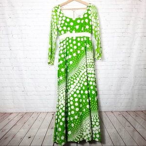 Vintage 60's Green Polka Dot Maxi Dress Pockets S